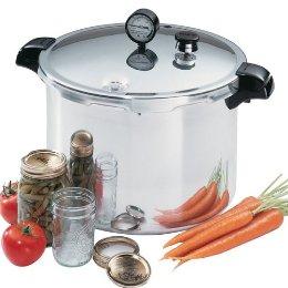Pressure canner, jars and vegetables