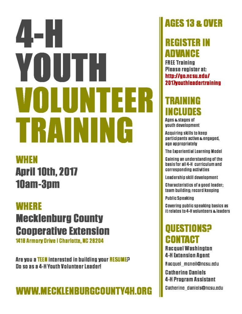 teen volunteer leader training north carolina cooperative extension