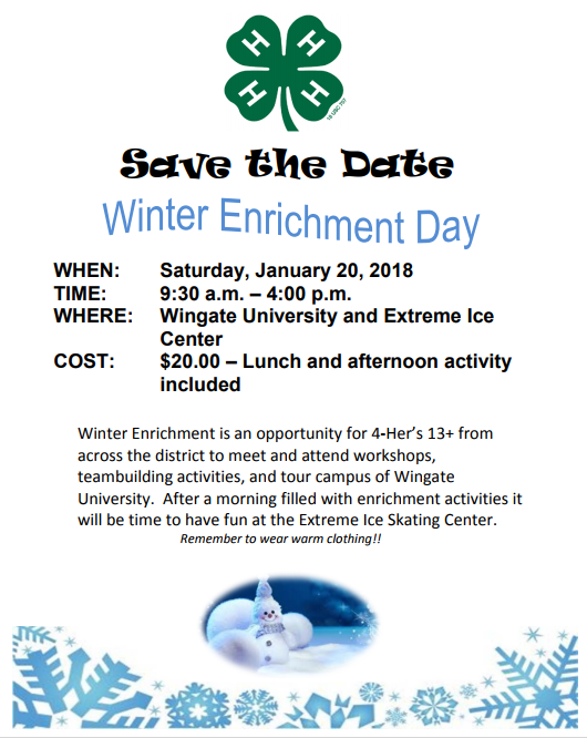 4-H Winter Enrichment flyer