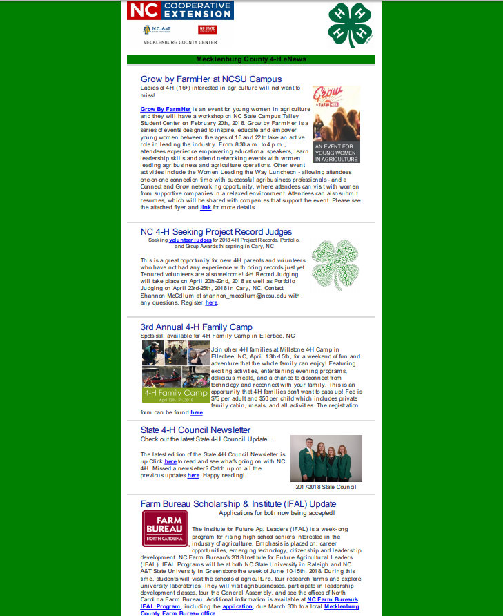 Image of 4-H newsletter, Page 1
