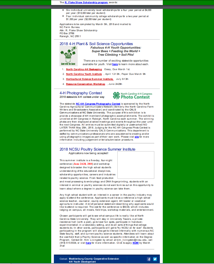 """Image of 4-H newsletter, Page 2"""" width="""