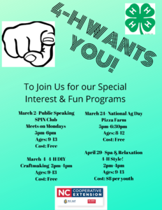 Cover photo for Mecklenburg County 4-H Spring 2020 Programs