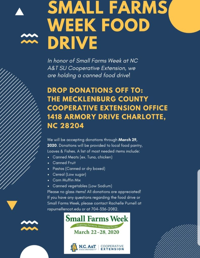 Small Farms Week Food Drive flyer image