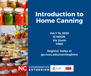 Cover photo for Introduction to Home Canning Class, July 16